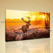 Home Decor Wall Decor Wall Art Pictures Canvas Print Landscape Animal Deer Morning