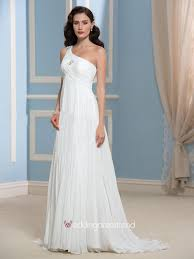 one shoulder wedding dress buy a line one shouder floor length chiffon wedding