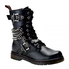 motorcycle shoes chain accented mens combat boot defiant 204 demonia unisex boots