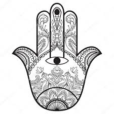 hamsa henna tattoo with ethnic ornament template for coloring