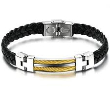 steel leather bracelet images 18k gold charm style stainless steel button leather bracelet png