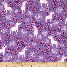 timeless treasures unicorns lilac from fabricdotcom designed by