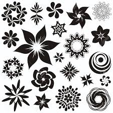 set of black and white flower symbols and ornaments second set