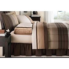 Twin Plaid Bedding by Amazon Com Brown Black Tan Grey Stripe Plaid Ombre Comforter And