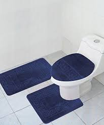 Navy Blue Bathroom Rug Set 3 Bath Rug Set Pattern Bathroom Rug 20 X32 Large Contour