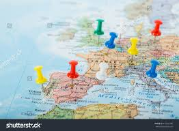 map trip europe map pins travel your planning stock photo 419995780