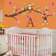 bedroom alluring monkey and tree wall mural on blue wall inside cute monkey bedroom decor for setting cheerful and soothing nursery room innovative wall mural inside