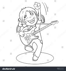 coloring page outline cartoon guitar stock vector 330356753
