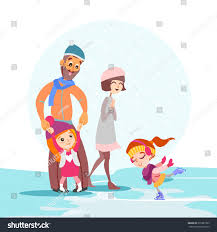 cute cartoon family skating together on stock vector 371881993