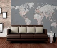 world map silver and orange wall mural buy at europosters world map silver and orange wallpaper mural