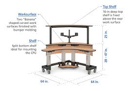 Deep Office Desk Dual Level Curved Shape Corner Office Desk Afcindustries Com
