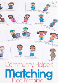 community helpers matching game for preschoolers community