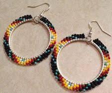 hoop beaded earrings american beaded earrings brick stitch hoops pink sunset