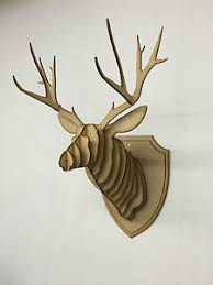 large small wooden deer wall hanging 3d stag