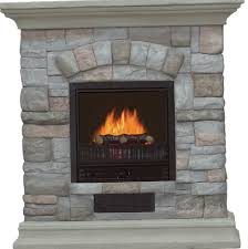 electric fireplace with mantel and multicolor stone facade home