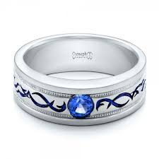 mens blue wedding bands custom engraved blue sapphire men s wedding band 102213
