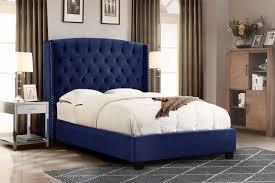 contemporary diamond sofa royal navy velvet fabric eastern king