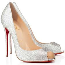 classic christian louboutin youpi 120mm silver glitter peep toe