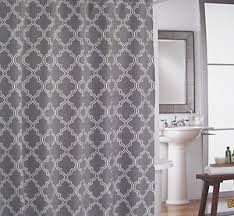 Cynthia Rowley Drapery Cynthia Rowley Charcoal Grey White Quatrefoil Fabric Shower