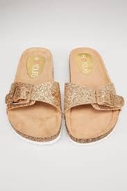 glitter cork effect footbed flat mule sandals in true eee fit