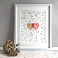 personalised wedding guest book hearts personalised wedding guest book print alternative