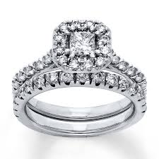jareds wedding rings jared diamond bridal set 5 8 ct tw princess cut 14k white gold
