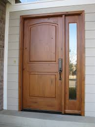 Solid Wooden Exterior Doors Large Single Custom Wood Exterior Doors With Narrow Glass Panels