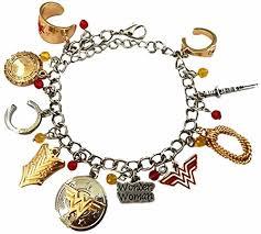 woman charm bracelet images Dc comics wonder woman silvertone goldtone metal 10 charm bracelet jpg