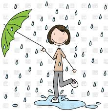 cartoon with umbrella jumping in the puddle vector clipart