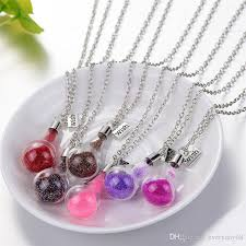 glass bottle necklace pendants images Wholesale wishing bottle necklace candy color diy drift glass jpg