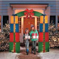 pre lit christmas gift boxes christmas 8ft gift box lighted outdoor entryway archway driveway