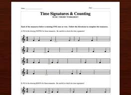 time signatures u0026 counting free printable theory worksheets