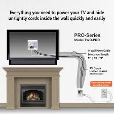 hide cords of a tv mounted over fireplace powerbridge