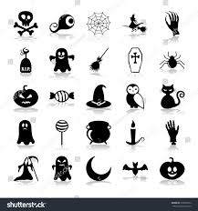 background of halloween set black icons on white background stock vector 218558512
