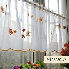 White Cafe Curtains Orange Color Flower Embroidered Kitchen Curtain Finished