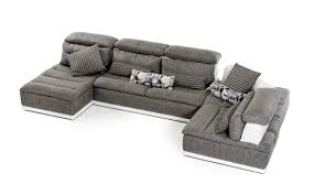 White Leather Sectional Sofa David Ferarri Panorama Italian Modern Grey Fabric And White