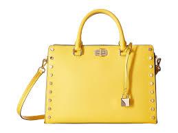 lyst michael michael kors sylvie stud large satchel in yellow