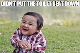 Toilet Seat Down Meme - evil toddler meme imgflip