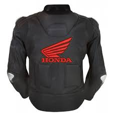 perforated leather motorcycle jacket men s honda wings black motorbike perforated leather jacket