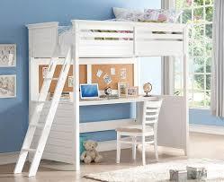 trixie white twin size study loft bed