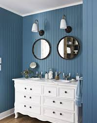 blue and orange bathroom decor dark brown lacquered wooden counter
