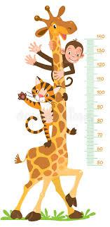 imagenes de amistad jirafas jirafa mono tigre pared del metro o carta de la altura ilustración