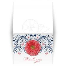 bridal card coral navy floral wedding or bridal shower thank you card