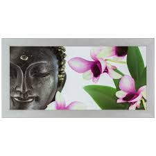 blumen lila bild wandbild fotodruck bilder gerahmt 33x70 cm wellness buddha