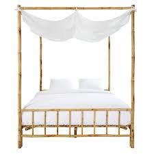 couette en bambou lit à baldaquin 160x200 en bambou et tissu blanc coconut maisons