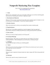 Free Non Profit Business Plan Template by Nonprofit Marketing Plan Template Summary