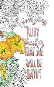 ruby is wonderful the coloringbook personalised with your name to