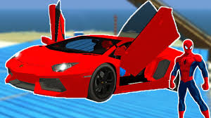 cartoon lamborghini red race car with spiderman cartoon for kids u0026 nursery rhymes
