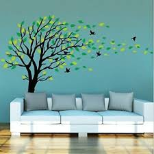 large and green tree blowing in the wind tree wall decals wall