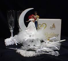 glass wedding cake toppers disney mermaid wedding cake topper lot glasses knife